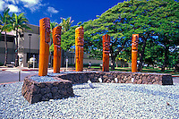 Located in Fort DeRussy Park in Waikiki, the Na Lehua Helele'i Memorial stands in tribute to the Hawaiian Mauli Warriors. In the background is the Ft. DeRussy Army Museum.