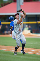Danville Braves first baseman Jeff Campbell (39) catches a pop fly during the game against the Burlington Royals at Burlington Athletic Park on July 12, 2015 in Burlington, North Carolina.  The Royals defeated the Braves 9-3. (Brian Westerholt/Four Seam Images)