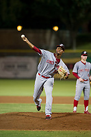 AZL Reds relief pitcher Edward Escoboza (55) delivers a warm up pitch as second baseman Cash Case (4) looks on during the game against the AZL Giants on August 12, 2017 at Scottsdale Stadium in Scottsdale, Arizona. AZL Giants defeated the AZL Reds 1-0. (Zachary Lucy/Four Seam Images)