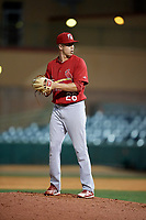 Palm Beach Cardinals relief pitcher Will Latcham (26) gets ready to deliver a pitch during a game against the Florida Fire Frogs on May 1, 2018 at Osceola County Stadium in Kissimmee, Florida.  Florida defeated Palm Beach 3-2.  (Mike Janes/Four Seam Images)