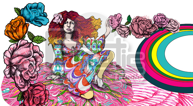 Illustration of woman with flowers and rainbow over white background