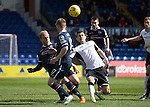 Ross County v St Johnstone…..30.04.16  Global Energy Stadium, Dingwall<br />Graham Cummins is closed down by Andrew Davies and Jonathan Franks<br />Picture by Graeme Hart.<br />Copyright Perthshire Picture Agency<br />Tel: 01738 623350  Mobile: 07990 594431