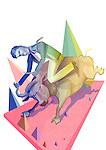 Illustrative image of businessman riding bull representing share stock market