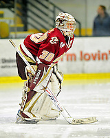 16 October 2010: Boston College Eagles' goaltender Molly Schaus, a Senior from Natick, MA, in action against the University of Vermont Catamounts at Gutterson Fieldhouse in Burlington, Vermont. The Eagles defeated the Lady Cats 4-1 in the second game of their weekend series. Mandatory Credit: Ed Wolfstein Photo