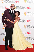 Tom Davis and Michelle Keegan<br /> in the winners room for the BAFTA TV Awards 2018 at the Royal Festival Hall, London<br /> <br /> ©Ash Knotek  D3401  13/05/2018