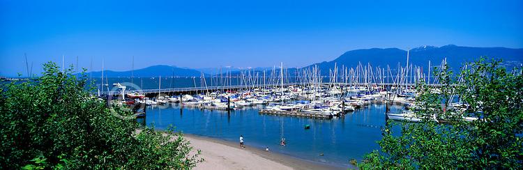 English Bay, Vancouver, BC, British Columbia, Canada - Royal Vancouver Yacht Club at Jericho Beach, Sailboats in Marina - Panoramic View