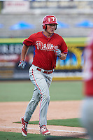 Philadelphia Phillies Greg Pickett (28) runs the bases after hitting a home run during an Instructional League game against the New York Yankees on September 27, 2016 at Bright House Field in Clearwater, Florida.  (Mike Janes/Four Seam Images)