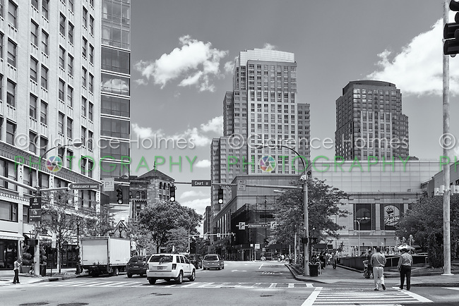 A view down Main Street towards City Center in downtown White Plains, New York.
