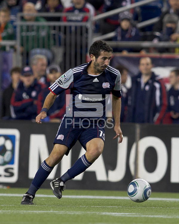 New England Revolution midfielder Monsef Zerka (19) at midfield.  In a Major League Soccer (MLS) match, the Columbus Crew defeated the New England Revolution, 3-0, at Gillette Stadium on October 15, 2011.