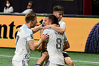 ATLANTA, GA - APRIL 24: Chicago Fire celebrate a goal in the 46th minute by midfielder #8 Luka Stojanovic during a game between Chicago Fire FC and Atlanta United FC at Mercedes-Benz Stadium on April 24, 2021 in Atlanta, Georgia.