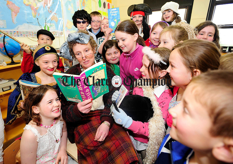 3rd and 4th class teacher Ms Collins as character Ms Battleaxe reading to her class during Bookweek at Lahinch National School.Pic Arthur Ellis.