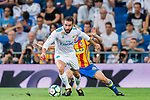 Daniel Carvajal Ramos (l) of Real Madrid fights for the ball with Antonio Latorre Grueso, Lato, of Valencia CF during their La Liga 2017-18 match between Real Madrid and Valencia CF at the Estadio Santiago Bernabeu on 27 August 2017 in Madrid, Spain. Photo by Diego Gonzalez / Power Sport Images