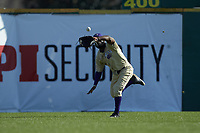 Western Carolina Catamounts center fielder Immanuel Wilder (27) makes a running catch during the game against the Saint Joseph's Hawks at TicketReturn.com Field at Pelicans Ballpark on February 23, 2020 in Myrtle Beach, South Carolina. The Hawks defeated the Catamounts 9-2. (Brian Westerholt/Four Seam Images)