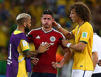 Dani Alves and David Luiz of Brazil console a tearful James Rodriguez of Colombia at full time