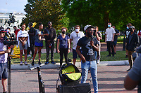 Washington, DC - June 15, 2020: Kenny Shay speaks as protesters prepare to march through the streets of Washington, DC June 15, 2020 to call for police justice and reform in the wake of the police killing of George Floyd in Minnesota.  (Photo by Don Baxter/Media Images International)