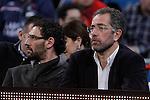 Spanish national basketball team coach Juan Antonio Orenga (r) and the basketball star Jorge Garbajosa  during Spanish Basketball King's Cup match.February 07,2013. (ALTERPHOTOS/Acero)