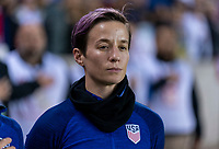 HOUSTON, TX - FEBRUARY 03: Megan Rapinoe #15 of the United States stands during warm ups during a game between Costa Rica and USWNT at BBVA Stadium on February 03, 2020 in Houston, Texas.
