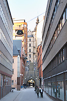 Photo taken from the spot where the Prime Minister Olof Palme was shot on the corner of Tunnelgatan The Tunnel Street and Sveavagen towards the Brunkebergstunneln The Brunkeberg Tunnel. Norrmalm. Stockholm. Sweden, Europe.