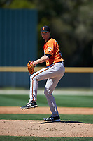 Baltimore Orioles pitcher Matthew Grimes (47) delivers a pitch during a minor league Spring Training game against the Boston Red Sox on March 16, 2017 at the Buck O'Neil Baseball Complex in Sarasota, Florida.  (Mike Janes/Four Seam Images)