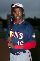 Hagerstown Suns outfielder Victor Robles (16) poses for a photo prior to the game against the Kannapolis Intimidators at Kannapolis Intimidators Stadium on May 5, 2016 in Kannapolis, North Carolina.  (Brian Westerholt/Four Seam Images)