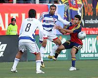 Juan Toja and Arturo Alvarez battle it out with Tony Beltran in the RSL 2-1 win over FC Dallas at Rice Eccles Stadium in Salt Lake City, Utah on May 10, 2008.