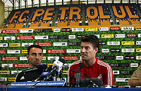 Wednesday 28 August 2013<br /> Pictured: (L-R) Leon Britton and manager Michael Laudrup during a press conference at Petrolul Ploiesti Stadium. <br /> Re: Swansea City FC arrive to Romania for a press conference and training session, a day before their UEFA Europa League, play off round, 2nd leg, against Petrolul Ploiesti in Romania.