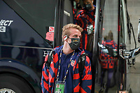 KANSAS CITY, KS - JULY 15: Jackson Yueill #14 of the United States arriving at the stadium before a game between Martinique and USMNT at Children's Mercy Park on July 15, 2021 in Kansas City, Kansas.