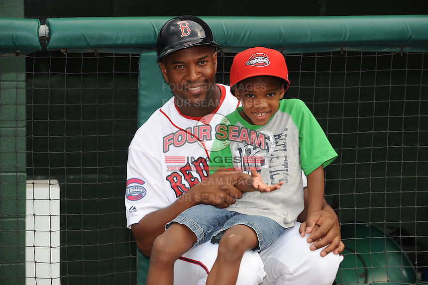 Greenville Drive Coach Billy McMillon and son before South Atlantic League All Star Game at Fluor Field in Greenville, South Carolina June 22, 2010.   The game ended in a 5-5 tie.  Photo By Tony Farlow/Four Seam Images