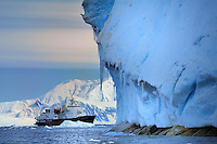ANTARCTIC PENINSULA - NEKO HARBOUR<br /> Giant icebergs let the expedkition cruise vessel appear like a childrens' toy.<br /> <br /> Full size: 69,2 MB
