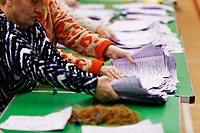 Pictured: Ballots counted in Swansea, Wales, UK. Friday 13 December 2019<br /> Re: Ballots count at the Leisure Centre in Swansea, Wales, UK.