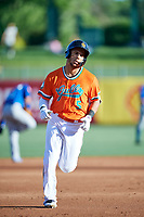 Michael Hermosillo (5) of the Salt Lake Bees rounds the bases against the Las Vegas 51s at Smith's Ballpark on May 7, 2018 in Salt Lake City, Utah. The 51s defeated the Bees 10-8. (Stephen Smith/Four Seam Images)