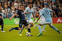 Kansas City, KS - Wednesday August 9, 2017: Jackson Yueill, Roger Espinoza, Diego Rubio during a Lamar Hunt U.S. Open Cup Semifinal match between Sporting Kansas City and the San Jose Earthquakes at Children's Mercy Park.