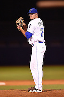 Tulsa Drillers pitcher Ryan Arrowood (25) delivers a pitch during a game against the Midland RockHounds on May 31, 2014 at ONEOK Field in Tulsa, Oklahoma.  Tulsa defeated Midland 5-3.  (Mike Janes/Four Seam Images)