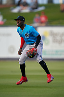 Miami Marlins second baseman Jazz Chisholm (2) playing in the shift during a Major League Spring Training game against the Washington Nationals on March 20, 2021 at FITTEAM Ballpark of the Palm Beaches in Palm Beach, Florida.  (Mike Janes/Four Seam Images)