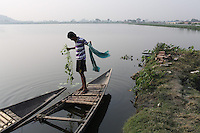 A fisherman in the Captain Bherry community in Kolkata. India. November, 2013