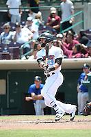 Michael Strentz (23) of the Inland Empire 66ers bats against the Rancho Cucamonga Quakes at San Manuel Stadium on April 27, 2016 in San Bernardino, California. Rancho Cucamonga defeated Inland Empire, 2-1. (Larry Goren/Four Seam Images)