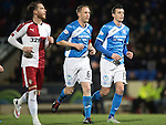 St Johnstone v Rangers…28.12.16     McDiarmid Park    SPFL<br />Steven Anderson and Joe Shaughnessy make thier way forward for a corner<br />Picture by Graeme Hart.<br />Copyright Perthshire Picture Agency<br />Tel: 01738 623350  Mobile: 07990 594431