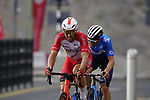 Nathan Haas (AUS) Cofidis and Gregor Mühlberger (AUT) Movistar Team climb the final 4km of Jais Mountain during Stage 5 of the 2021 UAE Tour running 170km from Fujairah to Jebel Jais, Ras Al Khaimah, UAE. 25th February 2021.  <br /> Picture: Eoin Clarke   Cyclefile<br /> <br /> All photos usage must carry mandatory copyright credit (© Cyclefile   Eoin Clarke)