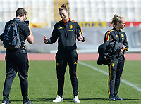 20180307 - LARNACA , CYPRUS :  Belgian Heleen Jaques (middle) pictured during a women's soccer game between  South Africa and the Belgian Red Flames  , on Wednesday 7 March 2018 at the GSZ Stadium in Larnaca , Cyprus . This is the final game in a decision for 5th or 6th place for Belgium during the Cyprus Womens Cup , a prestigious women soccer tournament as a preparation on the World Cup 2019 qualification duels. PHOTO SPORTPIX.BE | DAVID CATRY