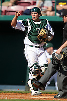 Catcher Andy Johnson #30 of the Michigan State Spartans during the Big East-Big Ten Challenge vs. the Seton Hall Pirates at Al Lang Field in St. Petersburg, Florida;  February 19, 2011.  Michigan State defeated Seton Hall 5-4.  Photo By Mike Janes/Four Seam Images
