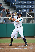 Johnny Adams (25) of the Everett AquaSox bats against the Boise Hawks at Everett Memorial Stadium on July 20, 2017 in Everett, Washington. Everett defeated Boise, 13-11. (Larry Goren/Four Seam Images)