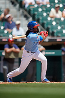 Buffalo Bisons Alen Hanson (31) hits a single during an International League game against the Lehigh Valley IronPigs on June 9, 2019 at Sahlen Field in Buffalo, New York.  Lehigh Valley defeated Buffalo 7-6 in 11 innings.  (Mike Janes/Four Seam Images)