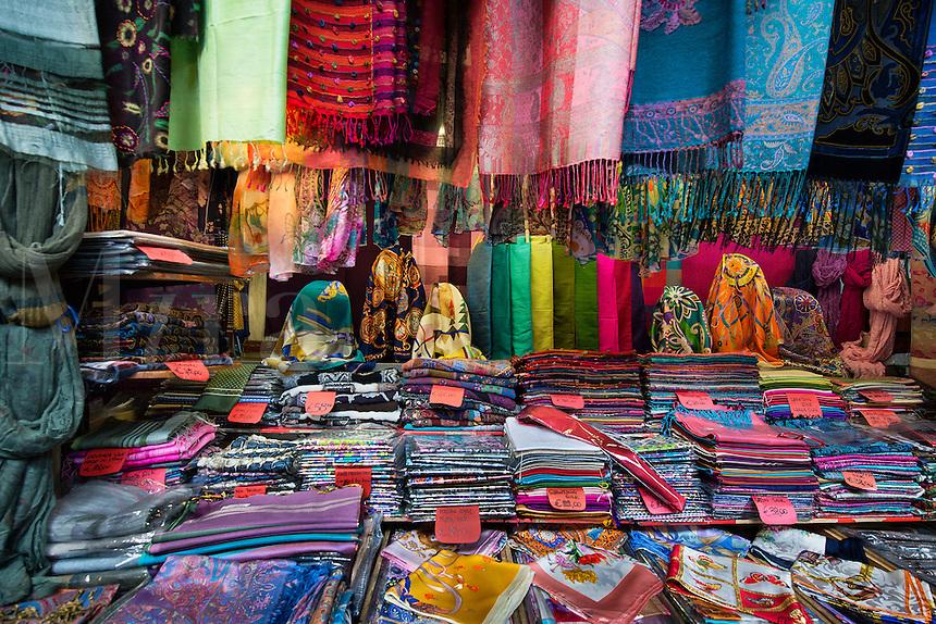 Italian silk goods shop in the Mercato Porcellino, Porcellino Market, Florence, Italy