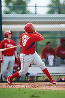 GCL Phillies designated hitter Jhailyn Ortiz (13) at bat during a game against the GCL Pirates on August 6, 2016 at Pirate City in Bradenton, Florida.  GCL Phillies defeated the GCL Pirates 4-1.  (Mike Janes/Four Seam Images)