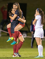 NWA Democrat-Gazette/JASON IVESTER<br /> Arkansas' Lindsey Mayo (left) and Cailee Dennis celebrate following Mayo's game-winning goal on Friday, Nov. 11, 2016, against Memphis in the NCAA tournament first round game at Razorback Field in Fayetteville.
