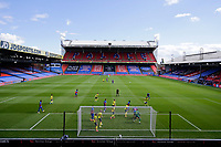 5th September 2020; Selhurst Park, London, England; Pre Season Friendly Football, Crystal Palace versus Brondby; Remote picture of a general view of the 1st half as Brondby attempt to kick the ball out from a Crystal Palace corner inside an empty Selhurst Park behind closed doors
