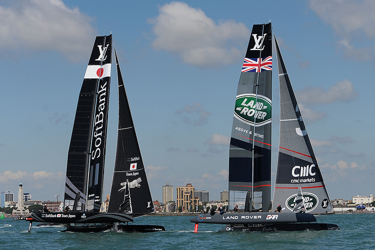 Land Rover BAR, JULY 23, 2016 - Sailing: Land Rover BAR leads SoftBank Team Japan during day one of the Louis Vuitton America's Cup World Series racing, Portsmouth, United Kingdom. (Photo by Rob Munro/Stewart Communications)
