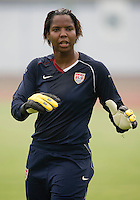 Briana Scurry. The USWNT practiced at Beijing Normal University in Beijing, China.  The team will now move to Qinhuangdao to prepare for their first two group games of the 2008 Olympics.