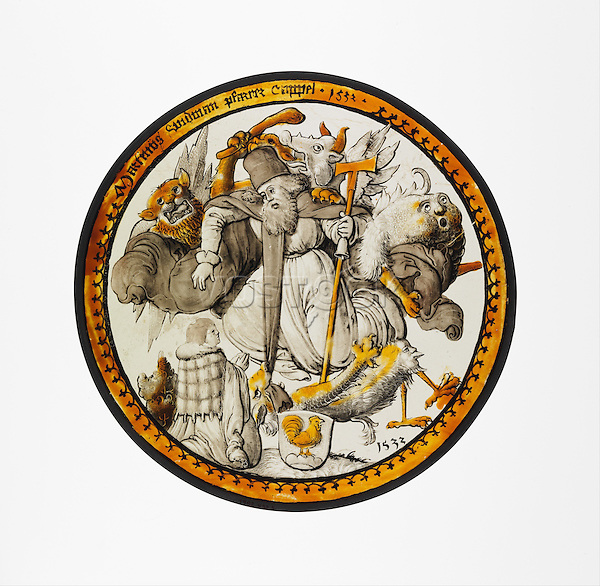 Roundel with the Temptation of Saint Anthony. 1532. Colorless glass, vitreous paint and silver stain. The Metropolitan Museum of Art, New York.