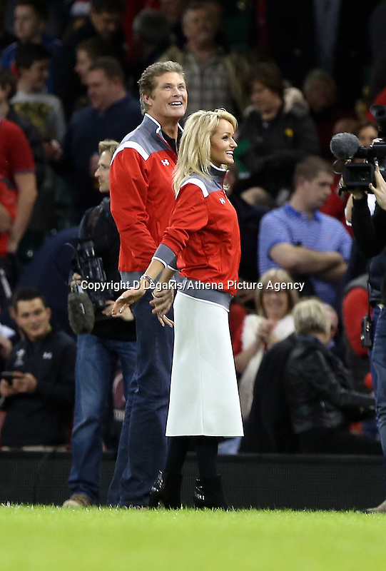 Pictured L-R: American actor David Hasselhoff with welsh girlfriend Hayley Roberts Saturday 22 November 2014<br /> Re: Dove Men Series 2014 rugby, Wales v New Zealand at the Millennium Stadium, Cardiff, south Wales, UK.